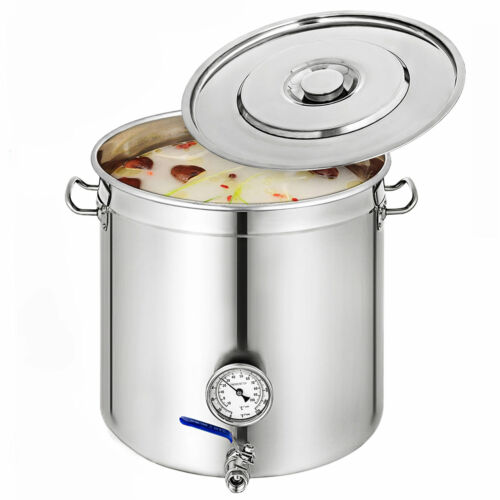 33-169L Stainless Steel Stock Pot W/Thermometer Brew Kettle Polished Cooking Pot