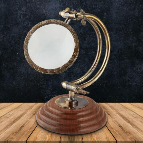 Vintage Tabletop Magnifying Glass With Curved Arm