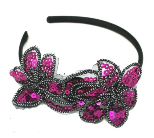 PINK SEQUINS HEAD ALICE BAND ON A SATIN BAND FOR FESTIVAL WEDDING RACES PROM