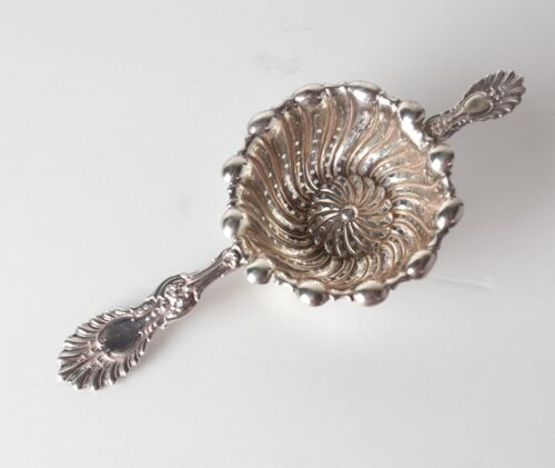 Whiting Radiant Pattern Sterling Silver Tea Strainer, swirl fluted