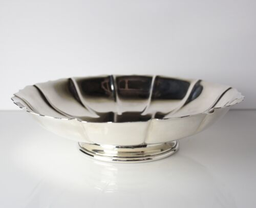 LG Sterling Silver Footed Bowl, Watson Irish Exemplar. Fluted bowl scalloped rim