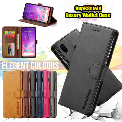 Motorola Moto One Vision Wallet Case SupRShield Leather Card Slots Flip Cover AU