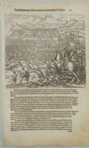 Battle cuzco Peru. two prints on one page. de Bry Theodore 1655