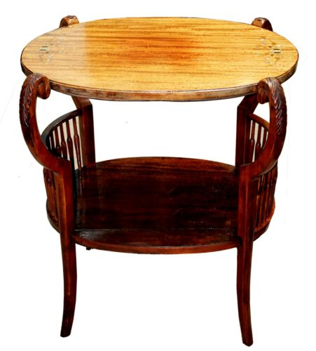 Antique Two-Tier Mahogany & Satinwood Inlay Mother of Pearl Tea Side Table
