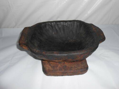 Vintage Primitive Hew Hand Carved Dual Purpose Wooden BOWL-TRAY~Square