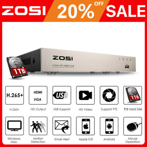 ZOSI 1080P H.265+ 8CH HDMI DVR CCTV HD Video Recorder for Security Camera System
