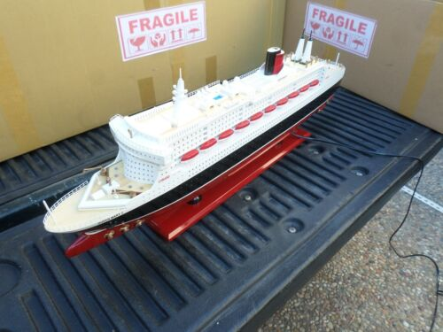 "Queen Mary II high quality wooden model ship with LED lights 32"" fully assembly"