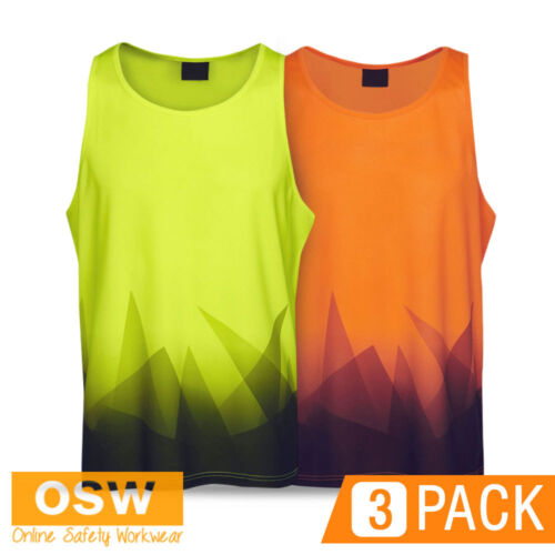 3 X HI VIS COOL DRY BREATHABLE SAFETY WORK TRADIES SUMMER BUILDER SINGLETS