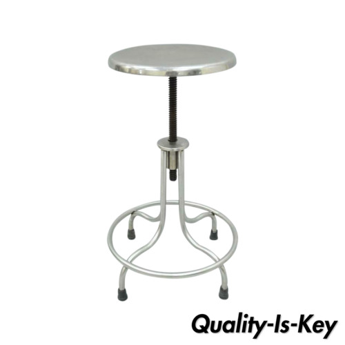 Vintage Stainless Steel American Industrial Modern Steampunk Adjustable Stool