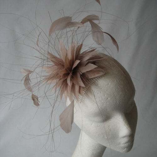 Nude  Feather Fascinator For Races, Proms , Weddings