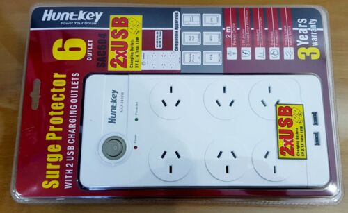 New HUNTKEY 6 Way Power Board 2 X 5v USB Charger Ports Switch Surge Protector