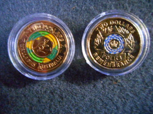 2019 wallabies rugby world cup +Police remembrance coloured $2 coins  unc