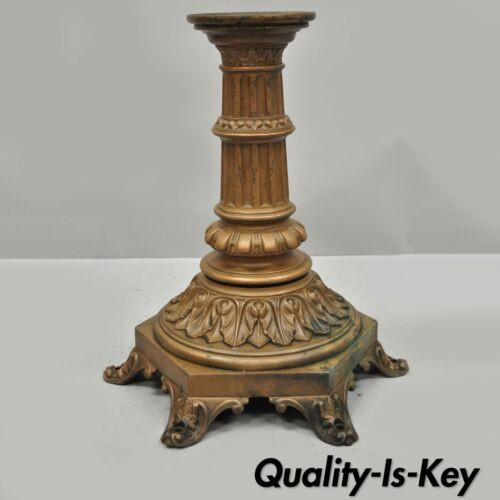 """Antique French Victorian Cast Bronze Empire Style 23"""" Pedestal Table Base"""