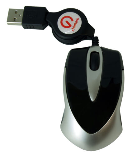 Shintaro Mini Optical Mouse w/ retractable cable for Laptop / Notebook users