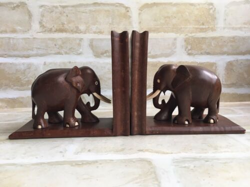 GORGEOUS WOODEN HANDED CRAFTED VINTAGE ELEPHANT ~ DOVETAIL JOINTS BOOKENDS