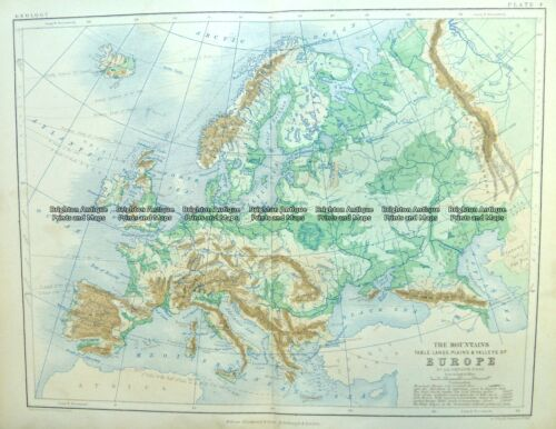 Antique Map 4-186 Europe - Topographical map by Blackwood c.1890