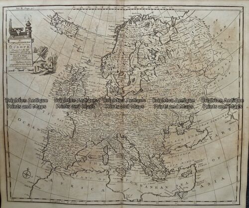 Antique Map 232-070 Europe by Bowen c.1744