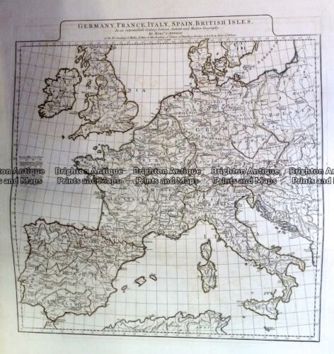 Antique Map 230-142 Europe - Germany, France Spain & Britain c.1785