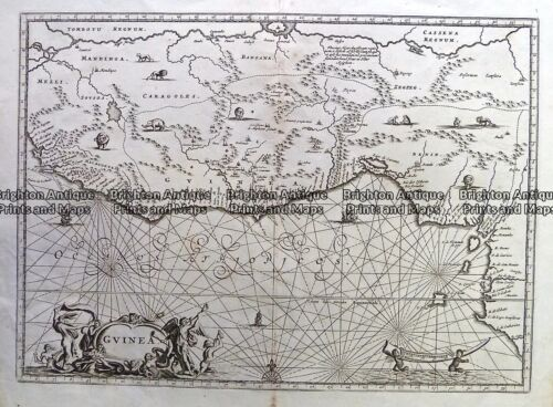Antique Map 230-153 Guinea by Ogilby c.1670