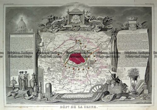 Antique Map 230-191 Paris and vicinity by Levasseur c.1854