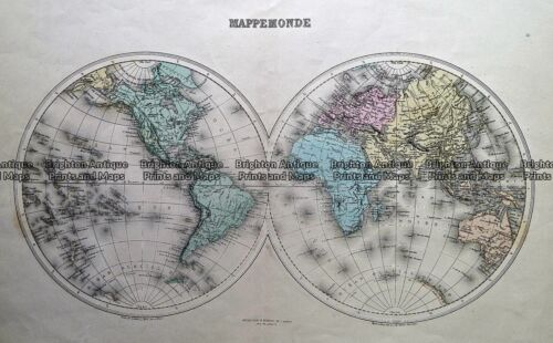 Antique Map 232-132 Mappemonde by Migeon c.1892