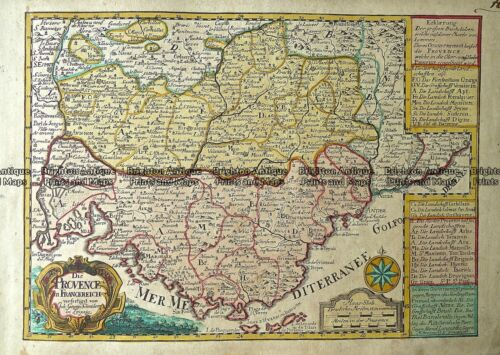 Antique Map 230-825 Provence in France by Schreibern c.1740