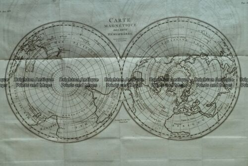 Antique Map 232-277 North and South Pole by Tardieu c.1790