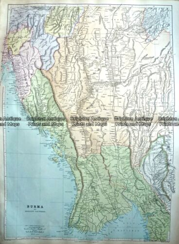 Antique Map 233-325 Burma by Stanford c.1887