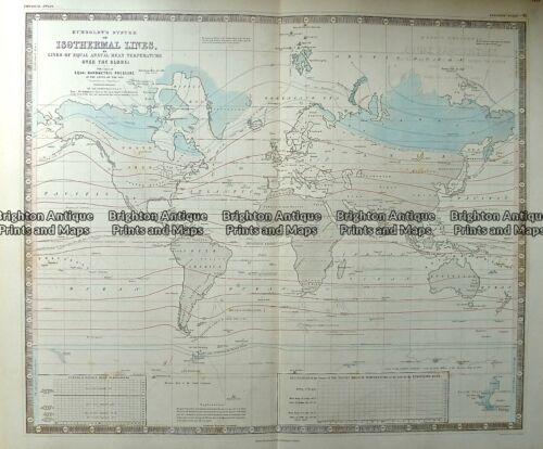 Antique Map 232-572 World - Isothermal Lines by Johnston c.1850