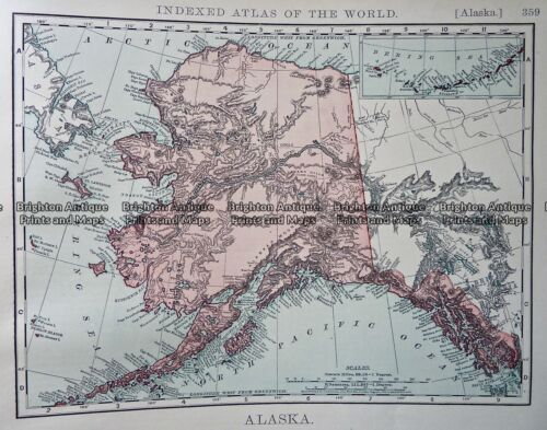 Antique Map 233-254 Alaska USA by Rand McNally c.1894