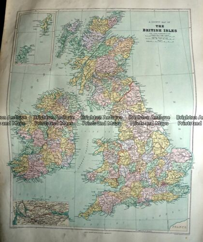 Antique Map 233-289 Britain - County map by Stanford c.1887