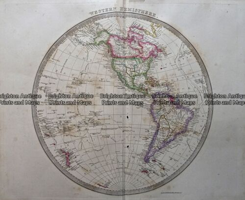 Antique map - Eastern & Western Hemispheres by Teasdale c.1847 Ref: 237-118