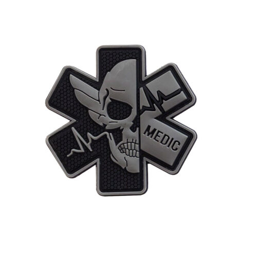 PVC Rubber Paramedic Medic Patch EMT First Aid Morale Tactical Skull Badge GrayArmy - 48824
