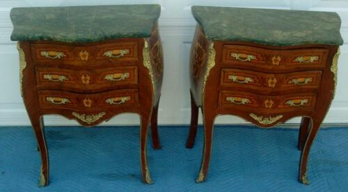 PAIR OF 2 FRENCH LOUIS XV STYLE PAINTED MARBLE TOP CHEST