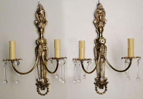 Antique French Louis XV style pair sconces Solid chiselled bronze glass bottons