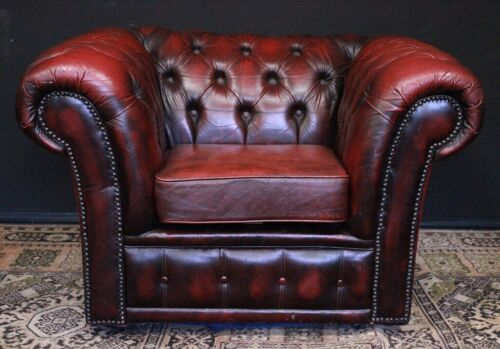 Poltrona club originale Chesterfield chester / pelle bordeaux / rosso/inglese UK