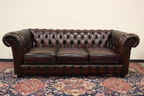 Divano Chesterfield / Chester / tre posti club / pelle bordeaux / originale UK