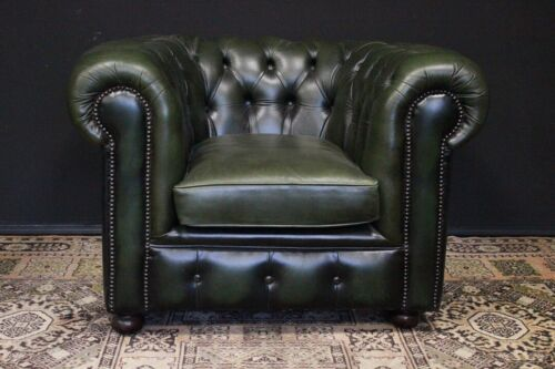 Poltrona originale Chesterfield / Chester club in pelle verde / inglese /leather