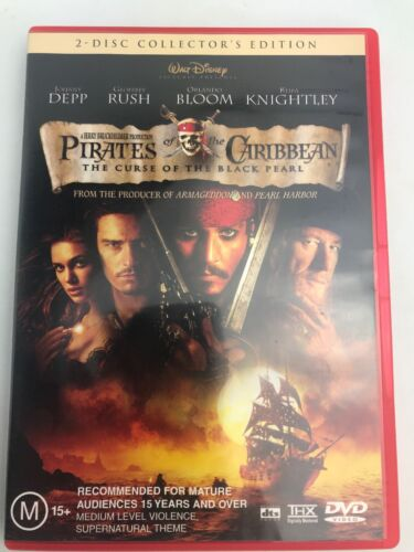 PIRATES OF THE CARIBBEAN - CURSE OF THE BLACK PEARL DVD R4 - 2 DISC SET VG