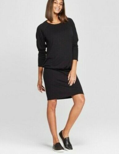 Isabel Maternity Womens Dress Large Black Relaxed Fit Cut and Sew Long Sleeve