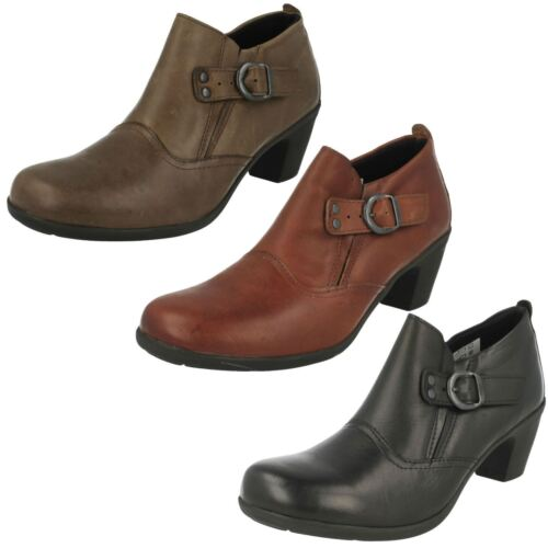 Ladies Easy B Leather Ankle Boots Wide Fitting UK 4 - 7 Tan/Brown/Black Cameo
