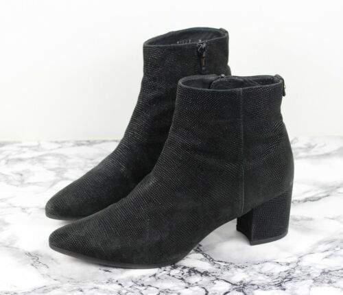 RUSSELL & BROMLEY Stuart Weitzman Black Textured Suede Leather Boots, Size UK 5