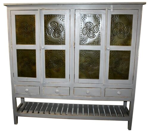 Farmhouse Kitchen Tin & Wood Pie Cupboard Cabinet w/ Distressed Grey Finish