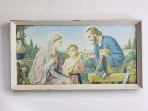 Vintage Jesus Picture in Timber Frame, 1950s Giovanni Color Print, Christian Art