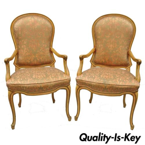 2 Italian Provincial French Hollywood Regency Upholstered Dining Room Arm Chairs