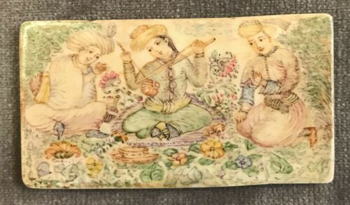 Antique Ottoman Miniature Painting on Camel Bone