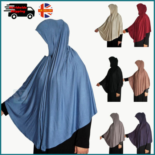 XL Jersey Hijab One Piece Amira Khimar Prayer Scarf pull on Ready Made Instant