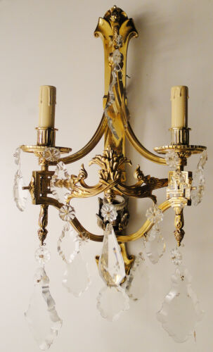Antique french empire style bronce and glass sconce Carved glass pieces