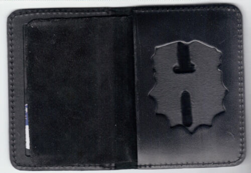 New York//New Jersey Police Leather Backer holds Shield//Nameplate//6-Citations