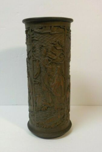 Chinese Hand Carved Bamboo Brush Pot, Figures & Scenic Design, c. 1900